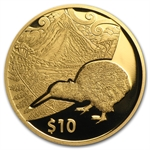 2014 1/4 oz Gold Proof New Zealand Treasures $10 Kiwi Coin